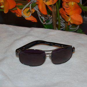 VTG Oleg Cassini Black & Chrome Shield Sunglasses